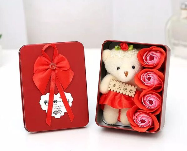 4 Scented Rose Soap Flower With Cartoon Plush Bear Bouquet For Valentines Day Christmas Gift Decorative Flowers Colorfu