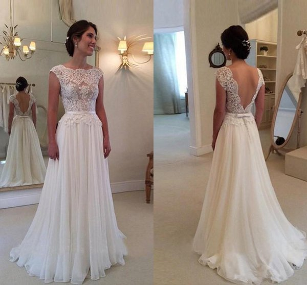 Chiffon A-Line Lace Wedding Dresses Backless Beach Wedding Gowns Simple Applique Cheap Bridal Dress Custom Made