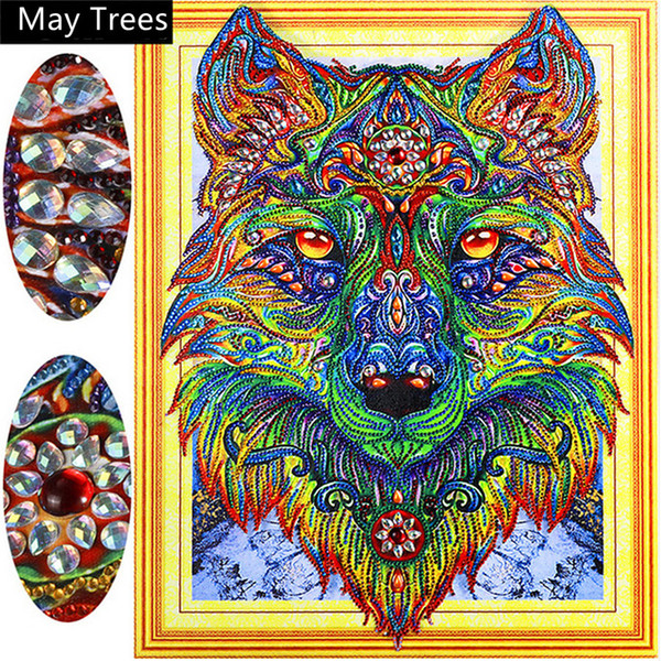 5d Diamond Painting Special Shaped Diamond Painting -Colorful Wolf- Arts Craft for Home Wall Decor Festival Gift DIY Diamond Painting Kits