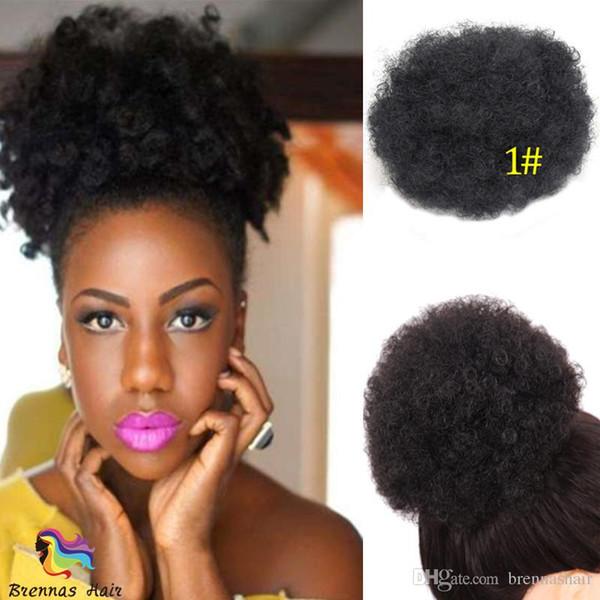Increíble Afro Kinky Rizado sintético moño moño con dos Combs Updo cubierta de plástico para mujer negro