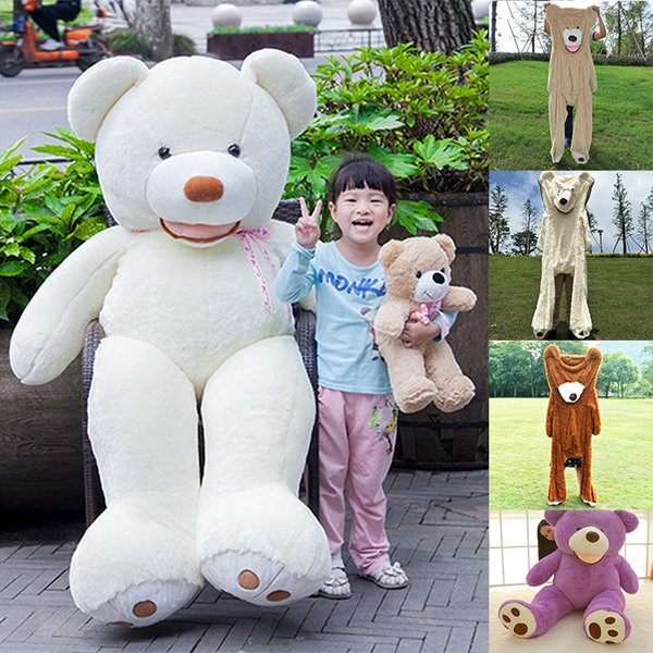 Giant 102inch Plush America Teddy Bear Shell No Stuffing America Teddy Bear Kids Room Decor Toy White/Brown/Dark Brown/Purple Wholesaler