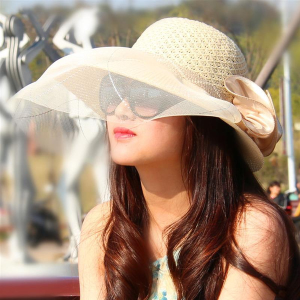 fashion hat Vbiger Women Sun Hat Floppy Wide Brim Hat Breathable Summer Beach Sunproof Gauze Cap