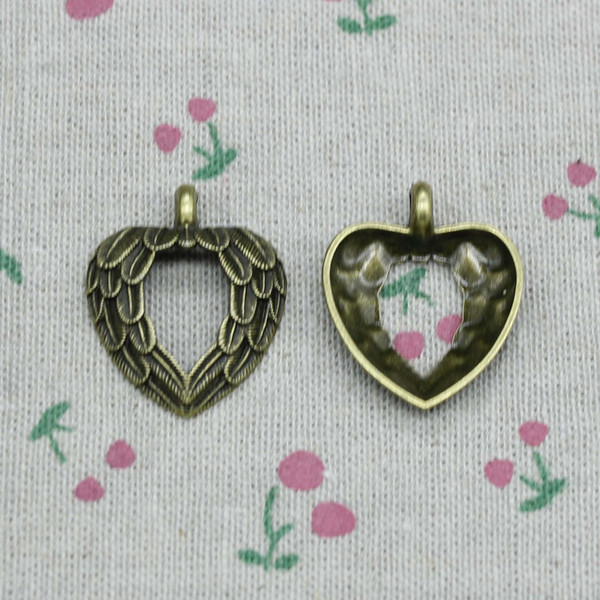 39pcs Charms heart angel wings 29*24mm Antique Bronze Vintage Pendants For Jewelry Making DIY Bracelet Necklace