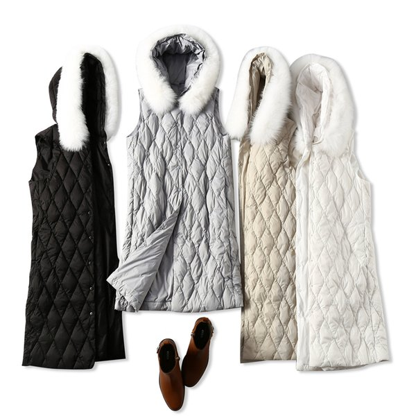 2018 Autumn And Winter New Product Warm Pass The Diamond Lattice Crack Fox Hair Lead Long Fund Down Vest Loose Coat Woman women's knitwear