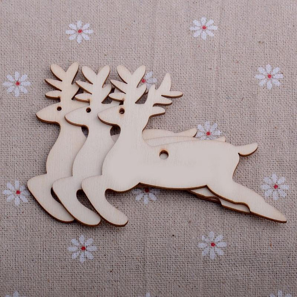 New 10 pcs/Lot Hot Christmas Tree Ornaments Wood Chip Snowman Tree Deer Socks Hanging Pendant Christmas Decoration Xmas Gift Crafts