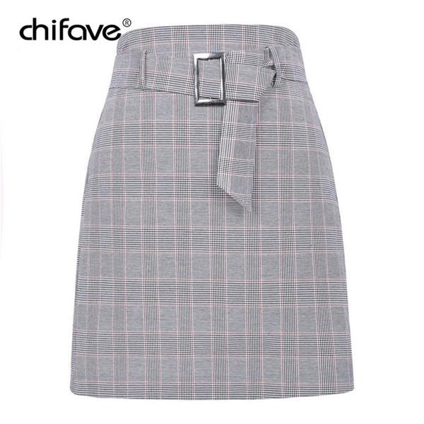 Women Sexy Mini Plaid Skirt Casual Female Spring Autumn Korean High Waist Belt Short Skirt Elegant Office Ladies Work Skirts