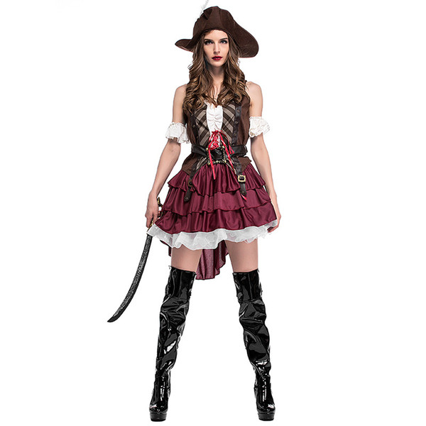 Donne sexy Halloween Pirate Costume Adulto Fancy Carnival Party Dress Alta qualità Masquerade Cosplay Show