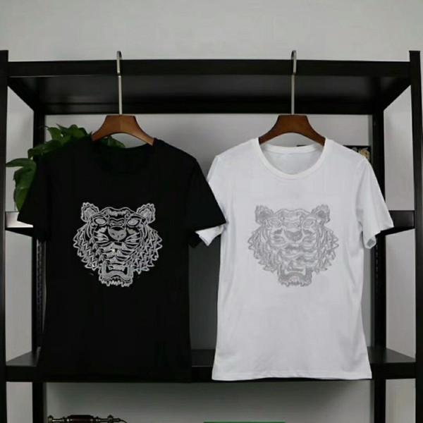 18ss роскошные Tiger Head вышивка футболка мода Мужчины Женщины улица скейтборд с коротким рукавом повседневная лето мягкая дышащая Tee Hfymtx208