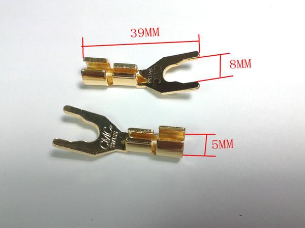 20pcs Kupfer Lautsprecherkabel Spaten Stecker Terminal Stecker vergoldet