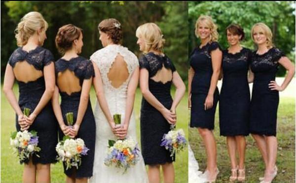 Dark Navy Blue Bridesmaid Dress Vintage Lace Sheath Column Knee Length Short Wedding Guest Dresses Sheer Crew Neck Short Sleeves Open Back