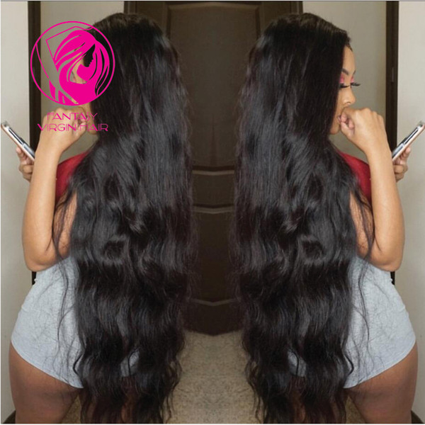 "Fantasy Brazilian Lace Front Human Hair Wigs For Women Remy Hair Natural Wavy 24""26""28""inchs Black Color Wigs with Baby Hair"
