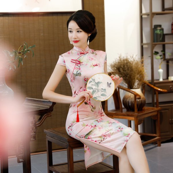 chinese female floral dress new arrival classic satin qipao oversized cheongsam mandarin collar slim m-3xl show clothing