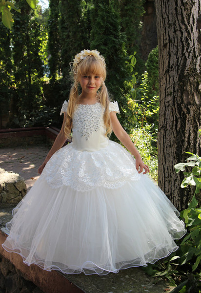 Flower Girl Dress Little Girl Princess Beads Ball Gown Organza Bridesmaid For Formal Wedding Occasion Wish Sash Princess Bow Brithday