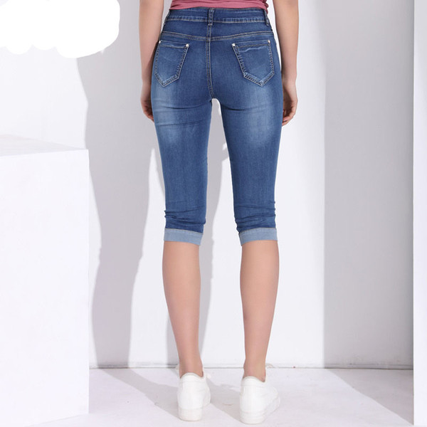 Softener Plus Size Skinny Capris Jeans Woman Female Stretch Knee Length Denim Shorts Jeans Pants Women with High Waist Summer