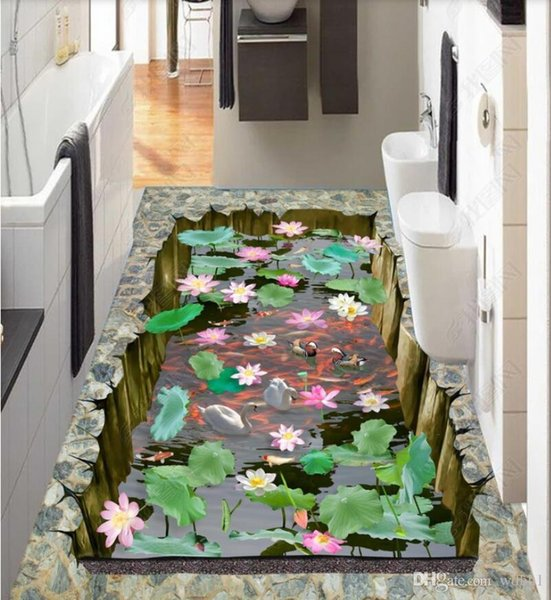 3d pvc flooring custom photo Waterproof floor wall sticker The floor of the lotus goldfish pond collapses in 3D for walls 3 d print fabric