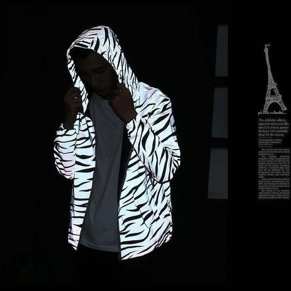 Sping Autumn Hip-hop Windbreaker Reflective Safety Clothing Jacket Plus Size Hooded Rock Men