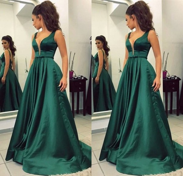 Simple Green Long Evening Dresses With Strap V Neck A Line Satin Floor Length Backless Evening Gowns Special Occasion Party Dress Online