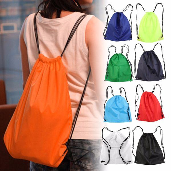 39*33.5cm Premium School Drawstring Duffle Bag Sports Gym Swim Dance Shoe Waterproof Backpack Travel String Bag carry handles
