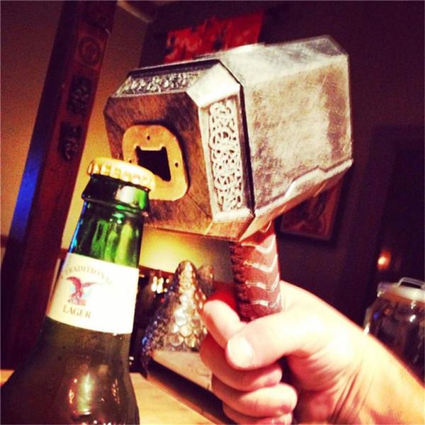 novel beverage caps open metal bottle opener beer thor hammer kitchen bar tools can jar openers cans bottles caps opener Y18110204