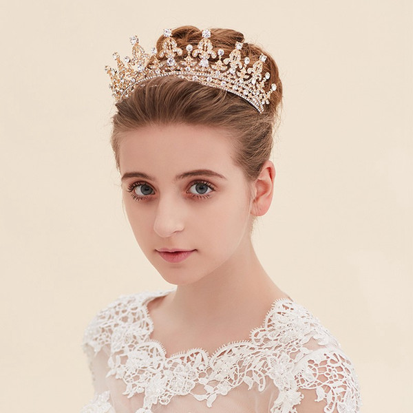Royal Wedding Crown CZ Crystal Pageant Birthday Tiara Bridal Headpiece Women Princess Hair Jewelry, Silver+Clear
