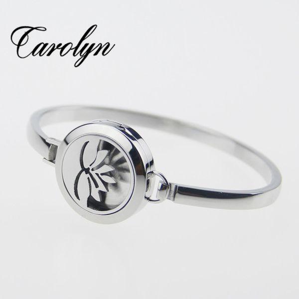 Edelstahl Silber Armreif Lotus Blume Ätherische Öle Aromatherapie Medaillon Parfüm Diffusor Medaillon Armreifen Armbänder