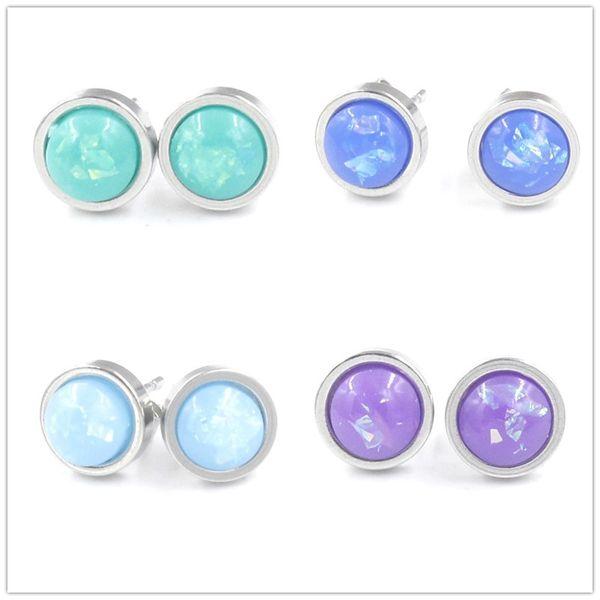 Nouveau 6mm Opale Druzy Boucles D'oreilles Mini Rond En Acier Inoxydable Stud Boucles D'oreilles Bijoux Femmes Partie Cadeau Robe