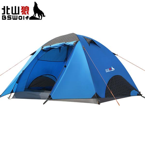 BSWolf Outdoor Camping Tent 3-4 Personne Double Couche Ployester Professional Tentes De Voyage En Alliage D'aluminium Pole Outdoor Accessoires