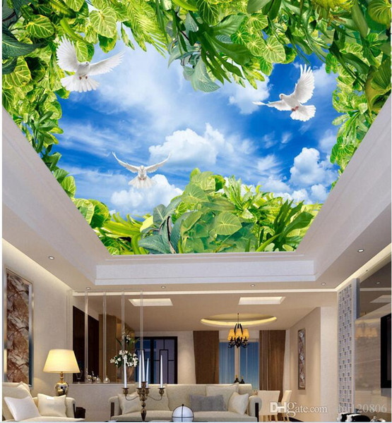 3d photo wallpaper custom mural Blue sky white clouds green dove sunlight ceiling murals home decoration living room wallpaper for walls 3d