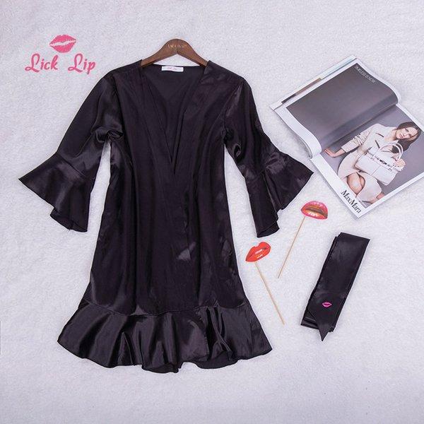 Lick Lip Sexy Satin Mini Bathrobe Women Sashes Kimono Ruffles Robe Black Belt Embroidery Dress Silk Nightwear Girls SWC3368-47