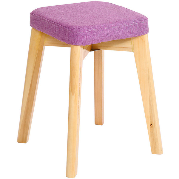 46cm Height Solid Wood Stool Fashion Modern Brief Square Cushion Home & Commercial Chair For House / Restaurant / Cafe / Bar