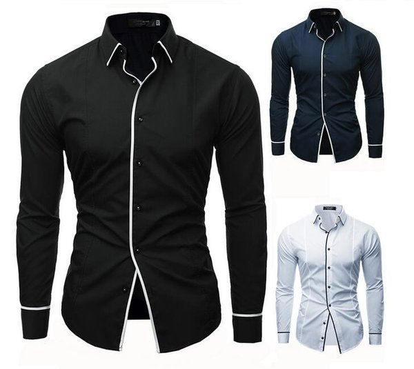 3 color foreign trade men's new products men's solid color line decoration men's casual long-sleeved shirt 3341