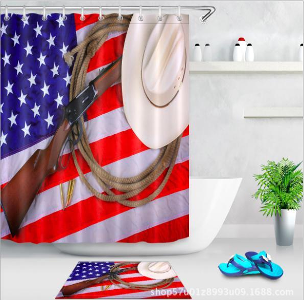 Flag of the United States pattern 3D Print Custom Waterproof Bathroom Modern Shower Curtain Polyester Fabric Bathroom Curtain Door mat sets