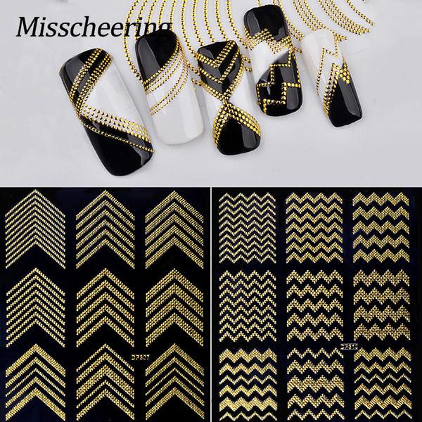 1 Sheet 3D DIY Nail Art Stripes Decals Sticker Gold Rivert Metal Gold Wave Line Adhesive Transfer Sticker Manicure Decor Tools