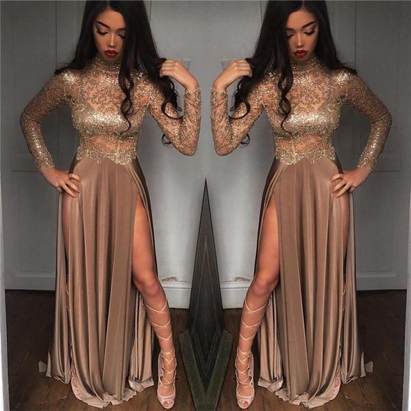 Durchsichtig Sexy 2018 New Luxury A Line Abendkleider High Side Split Long Sleeves Abendkleider Vestidos Kleider für besondere Anlässe Abendgarderobe