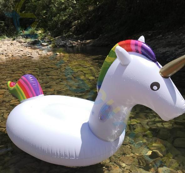 2M Inflatable Unicorn Swimming Ring Giant Pool Float island Toys Water Mattress Lifebuoy Adult Beach Party Sea Swimming Circle
