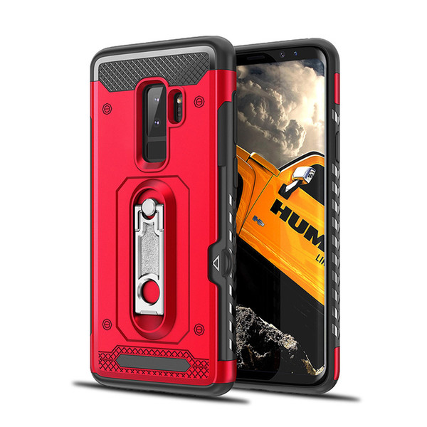 Hybrid Armor Case Soft TPU Metal Kickstand Holder Phone Cover for Samsung J7 2017 S7 7edge Dual Layer Armor Card Slot Phone Protector