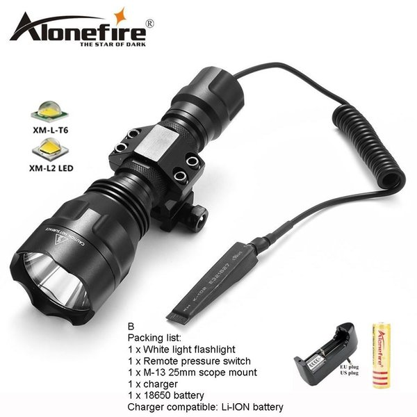 AloneFire C8s Tactical Flashlight CREE XML T6 Waterproof touch camping bicycle flash light for 1x 18650 battery