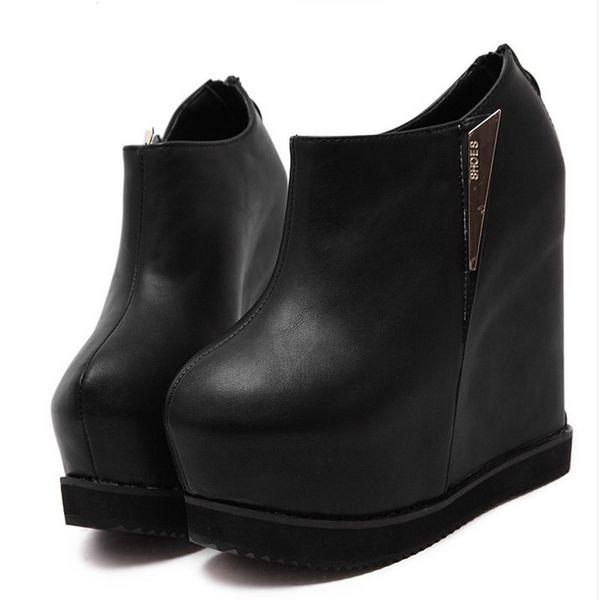 Высокое качество женщины кожа ботильоны женщины 14 см высокие каблуки сапоги на платформе Сексуальная хороший черный круглый носок клинья ночной клуб обувь женщина