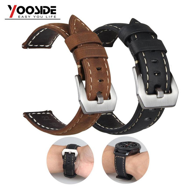 22mm Premium Vintage Soft Handmade Leather Strap Watch Band for Samsung Gear S3 Frontier/S3 Classic SmartWatch