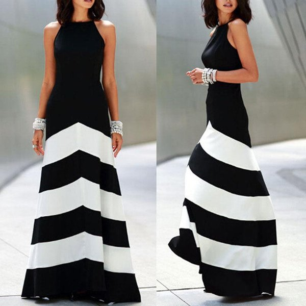 2018 New Black and white striped womens backless summer dresses formal dresses evening Sexy Ladies Stripes Long Maxi Evening dress S-2XL