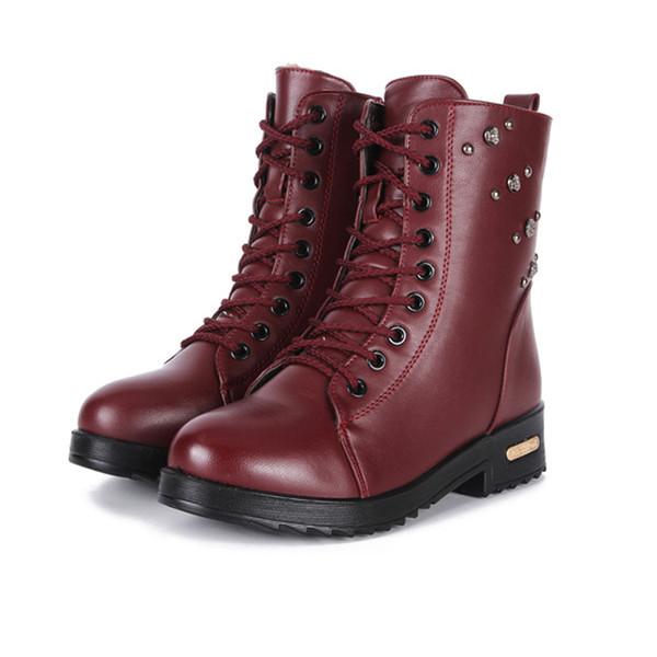 2017 neue Herbst und Winter Martin Stiefel Damen Stiefel plus Kaschmir warme echte Leder flache Stiefeletten