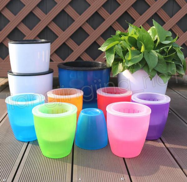 8colors Automatic water lazy flower pot gardening resin large creative green locus pot water culture plastic flowerpot GGA569 50pcs