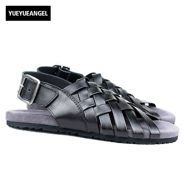 2018 New Designer Mens Buckle Strap Beach Sandals Weave Fisherman Gladiator Shoes Peep Toes Genuine Leather Outside Casual Shoes