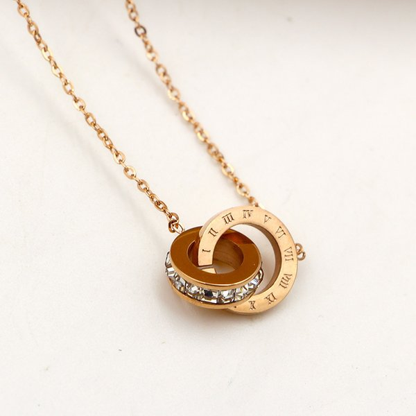 Stainless Steel Rome Square Drill Short Necklace Pendant Female Korean Fashion Titanium Rose Gold Color Necklace Pendant#S