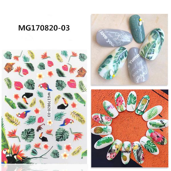 Mais novo boca Grande floresta tropical 3d nail art adesivo prego decalque stamping exportação japão projeta decorações de strass
