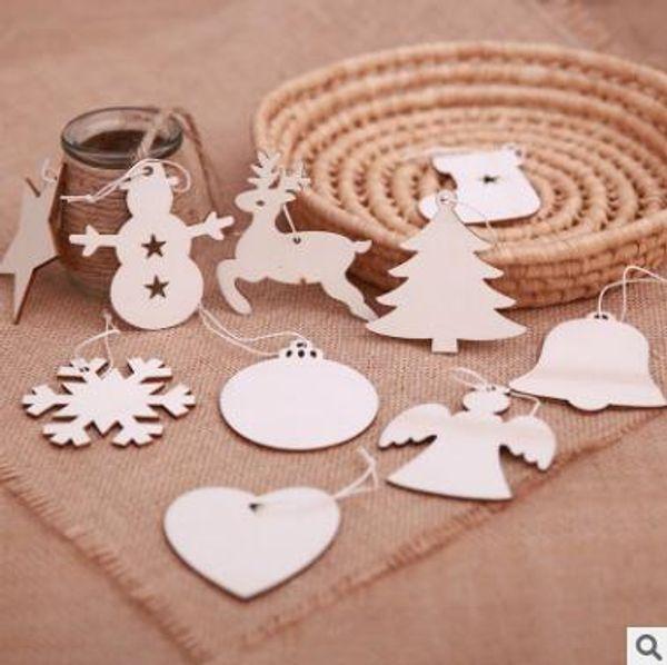 Décorations de Noël en bois Sapin de Noël Bonhomme de neige Flocon de neige Renne Ornements Étiquettes en bois vierges Artisanat Tranches de bois avec trous