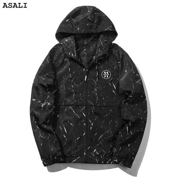 ASALI männer marke 2017 Herbst Casual herren UNS größe hohe qualität mäntel slim fit Marke Kleidung kapuzen reißverschluss print Jacke J74