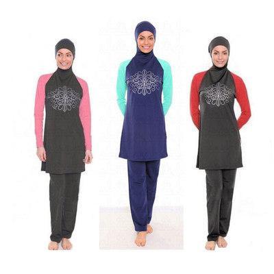 Women Islam Muslim Swimsuit Long Sleeve Bathing Suit Female Plus Size Conservatively Modest Floral Print Bather Suit