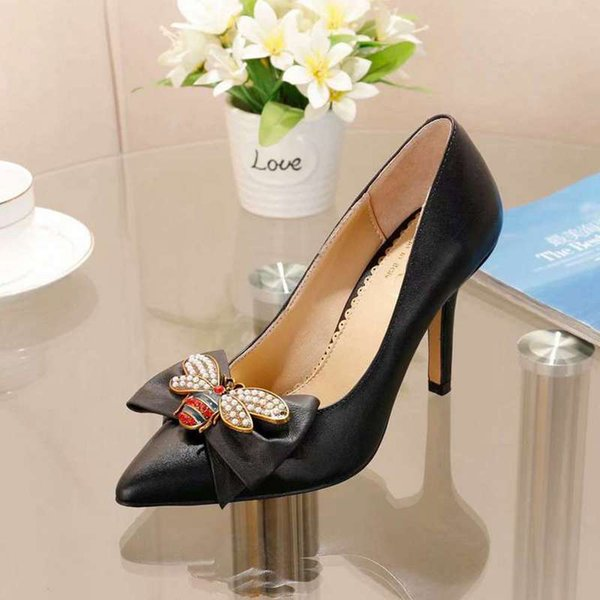New Arrival Fashion Design Women Pointed Toe Pumps With Bee Bow Sexy High Heel 90mm Dress Outdoor Party Evening Bridal Shoes Cowhide Leather