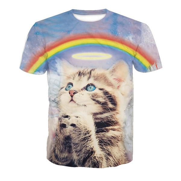 Commercio all'ingrosso Arcobaleno Funny Cat T-Shirt Uomo Cartoon Plus Size Tees Estate Vendita calda Cute Cat T-Shirt Harajuku Uomo Anime t-shirt Streetwear